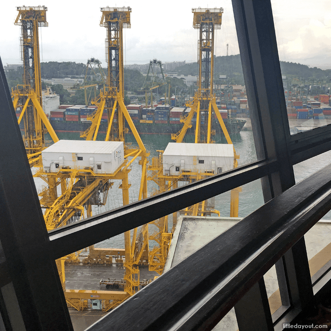 View of cranes from the restaurant dining area