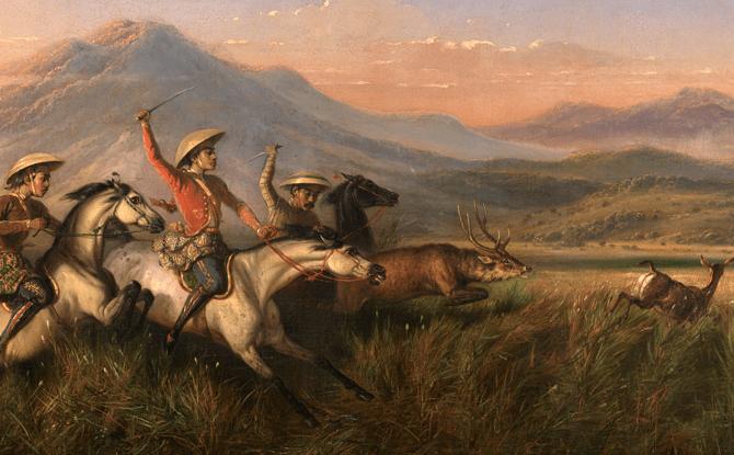 Raden Saleh's Six Horsemen Chasing Deer
