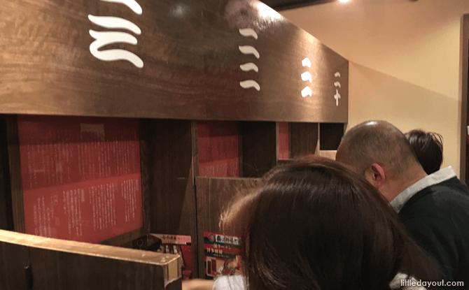 Dining stalls at Ichiran Ramen