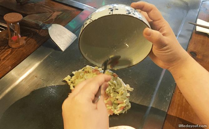 Dishing out the okonomiyaki ingredients