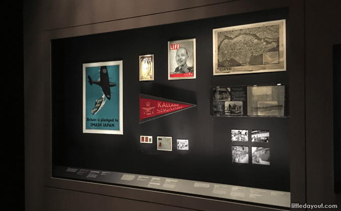 Display cases at National Museum of Singapore, Witness to War