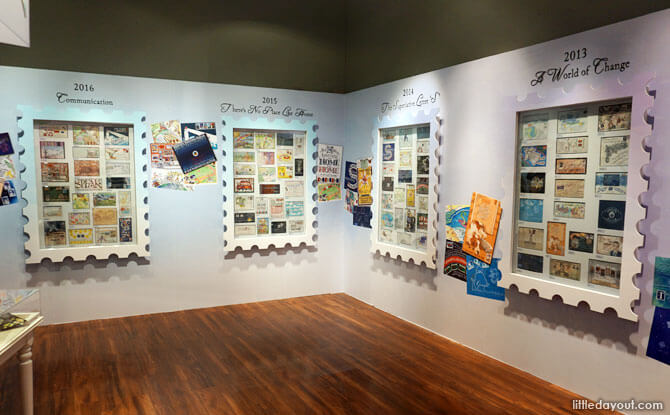 Display at envelopes at Singapore Philatelic Museum