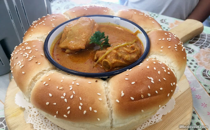 Flower Bread with Curry Chicken