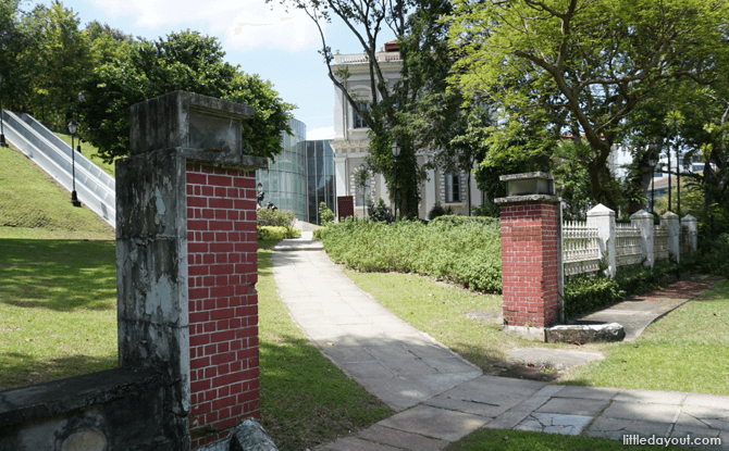 Old gates to the former National Library building on Stamford Road