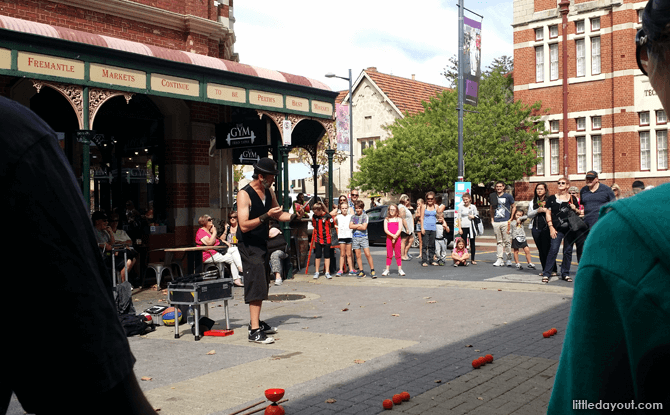 Buskers performing at Fremantle Market
