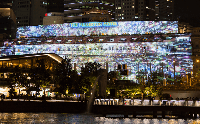 Fullerton Hotel Façade Light Projection Show - Marina Bay Countdown 2018