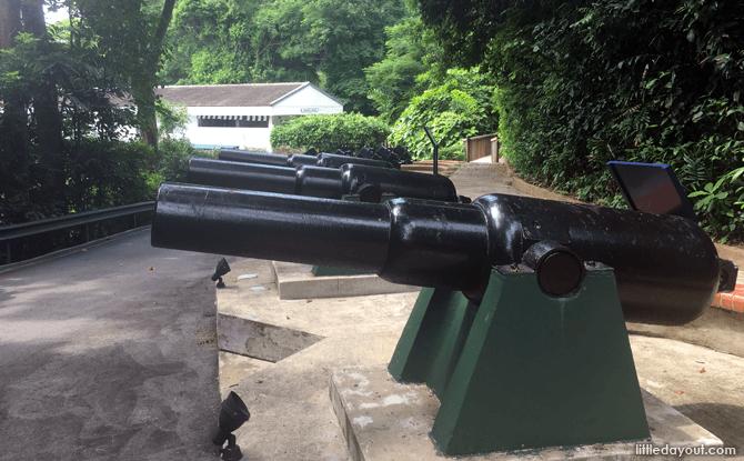 Guns on display at Fort Siloso, Sentosa