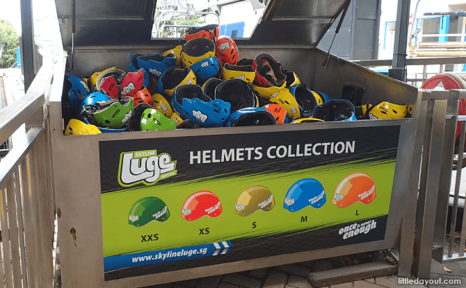 Helmet Collection Area at Sentosa Luge