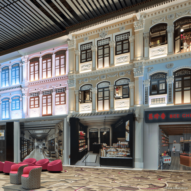 Shophouses at Changi Airport Terminal 4 Heritage Zone