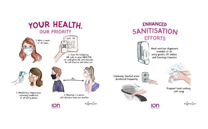 Artist Grace Ciao Stylishly Illustrates ION Orchard's Safety Measures