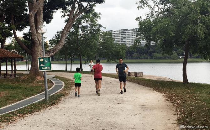 Jogging at Bedok Reservoir Park