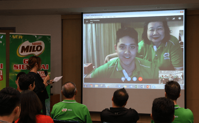 'Live' Skype session with MILO® Brand Ambassador Joseph Schooling and his mother, May Schooling from Texas, at the launch of MILO® Gao Siew Dai today at Nestlé's R&D Centre