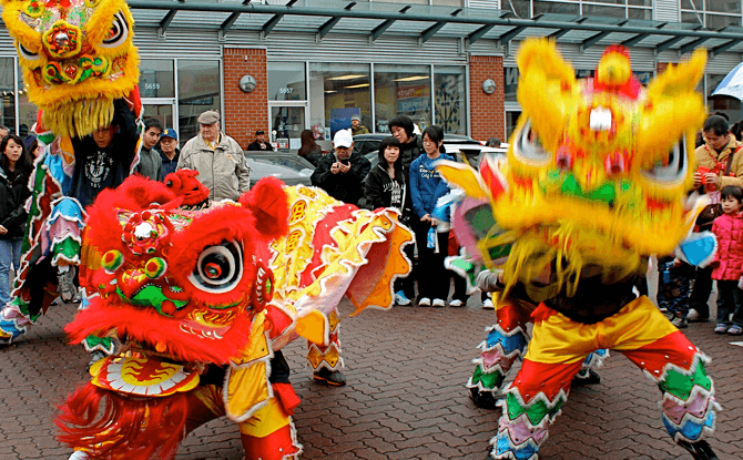 Lion dance performers