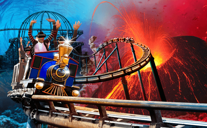 Virtual Reality Coaster, Mine Train, Ocean Park Hong Kong