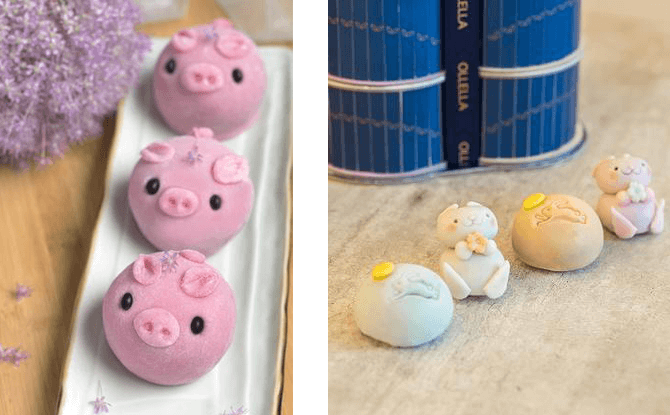 Left: Snowskin Pig-Me-Up with Silver Lotus Paste and Egg Yolk Custard Mooncakes from Peony Jade @ Keppel Club. Right: Cute Bunny Mooncakes from Ollella. Photo credits: Peony Jade @ Keppel Club, Ollella