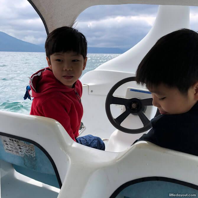Paddle boat on Lake Shikotsu