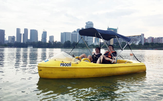 there are more leisurely ways to venture out to the water, one of which is to take out a pedal boat in Singapore at the Kallang Basin from the Water Sports Centre.