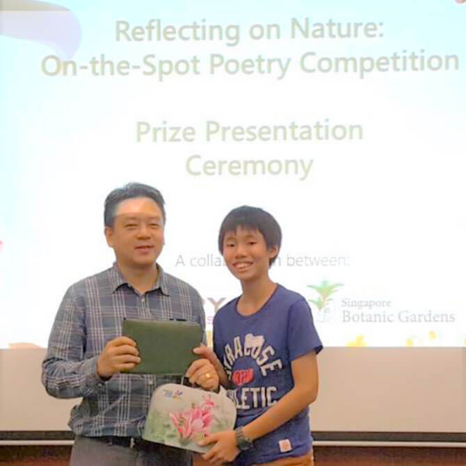 Ryan Tay at the Poetry Competition 2018 at Singapore Botanic Gardens