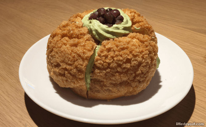 Streusel Choux Puff with Matcha Cream