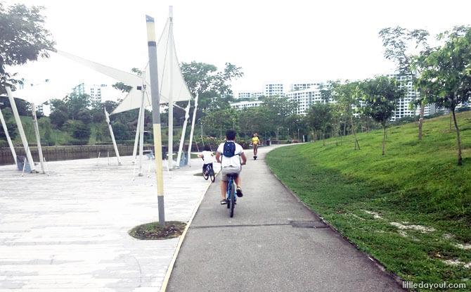 Cycling at the Punggol Waterway