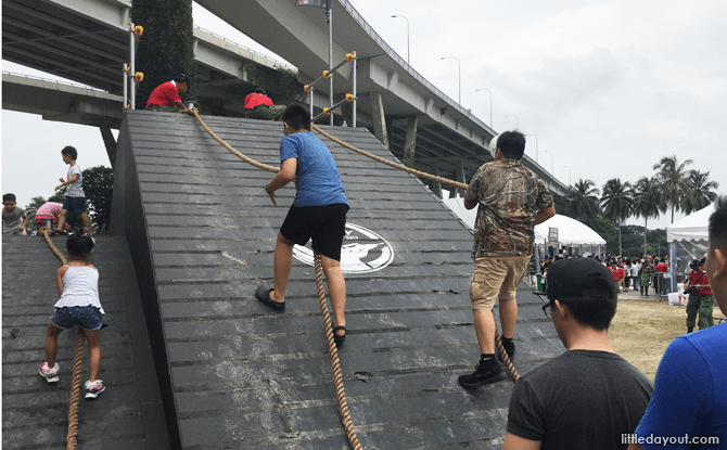 Clear the ramp at the Solider Strong obstacle course