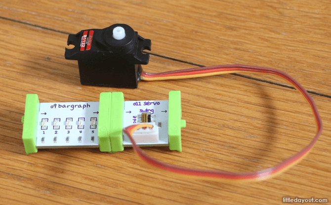 littleBits modules have magnets that allow them to snap together