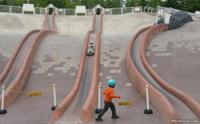 Hillside slides at Takino Park