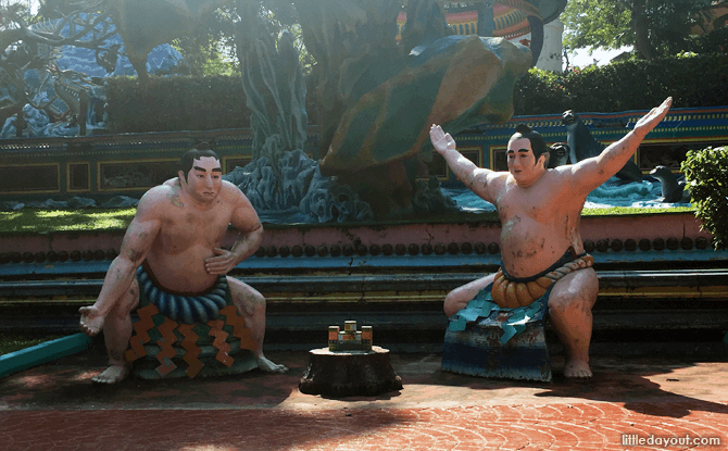Sumo wrestlers and other international icons were added to Haw Par Villa in the later years.