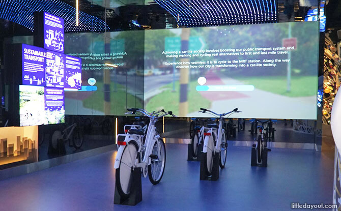 Interactive cycling station at the Sustainable Singapore Gallery.