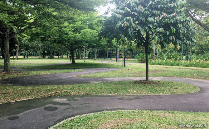 Curvy switchbacks at West Coast Park Area 2 for bikes and go-karts