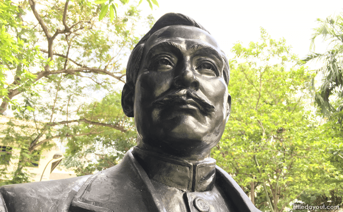 Bronze statue of Dr Sun Yat Sen at Wan Qing Yuan