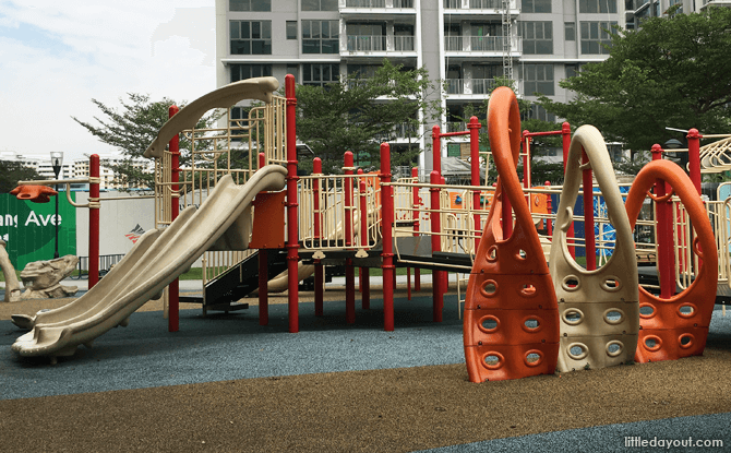 Trio of slides at Canberra Park Playground