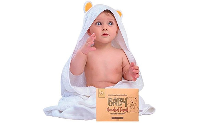KeaBabies Organic Bamboo Baby Bath Towels with Hood