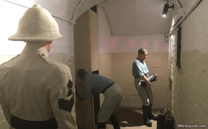 Depiction of activity in underground gun magazine at Tunnel C, Fort Siloso