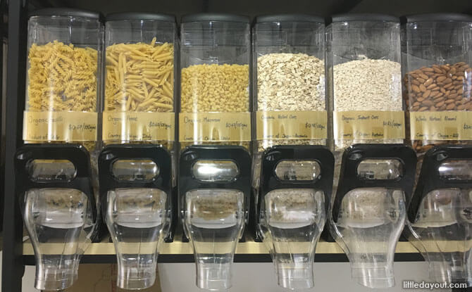 Dry food products at UnPackt, packaging-free store in Singapore