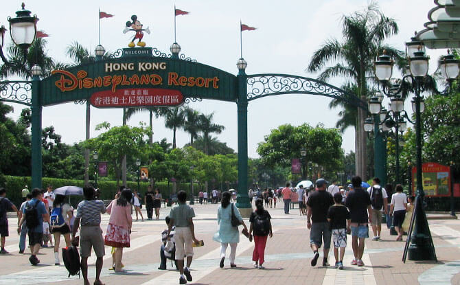 Walk from the train station to Hong Kong Disneyland Gates
