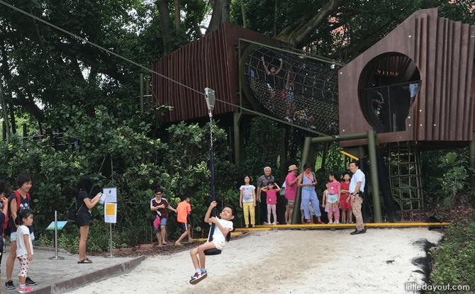 Zip line at Jacob Ballas Children's Garden