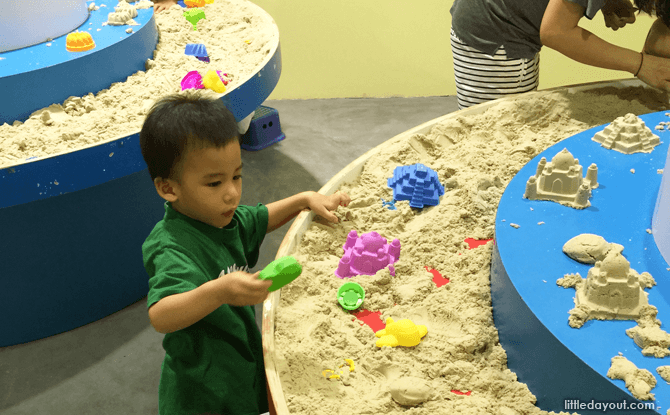 Sand play at eXplorerkid @ Downtown East