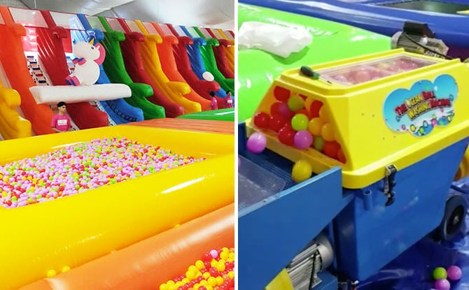 Bouncy Paradise Has Reopened. Check Out Its Ball Pit Cleaning Machine!