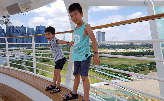 Exploring the ship with kids