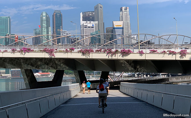 Cycling under Bayfront Avenue and the Helix Bridge