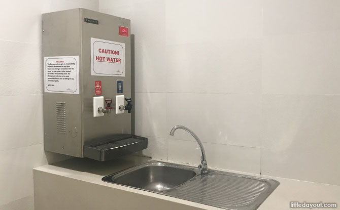 Water dispenser at Far East Plaza diaper changing room