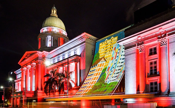 National Gallery Singapore's Façade Lights Up For National Day 2020 - Civic District & Bras Basah.Bugis National Day Light Up 2020