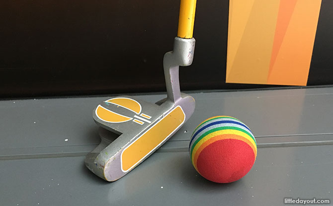 Putter and ball at Putt Power, Singapore Sports Museum