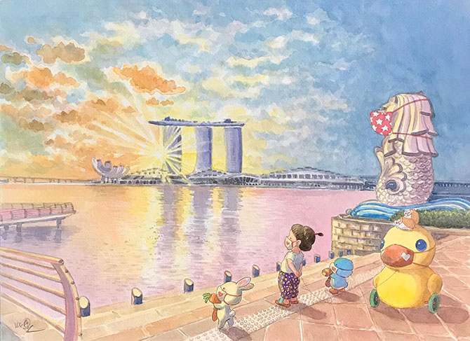 Singapore illustrations by Ah Guo