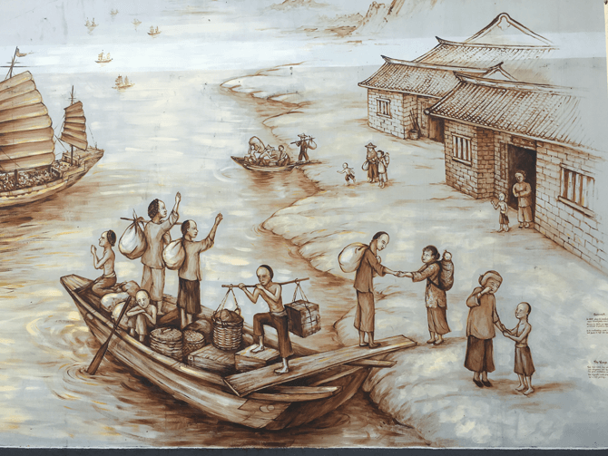 Leaving China, Scene from the Thian Hock Keng Mural