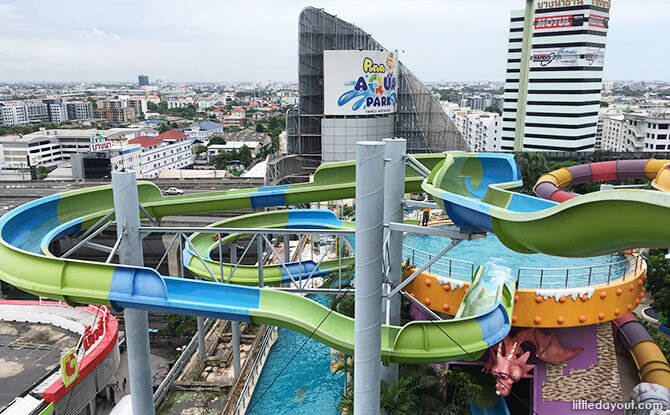 Taking the tall water slides at this height, I felt like I was flying through the sky!