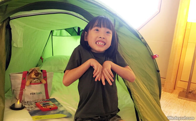 The little one fell in love with her tent, which was luxuriously padded with a mattress and came with a fluffy pillow and even a limited-edition lion beanie to cuddle!