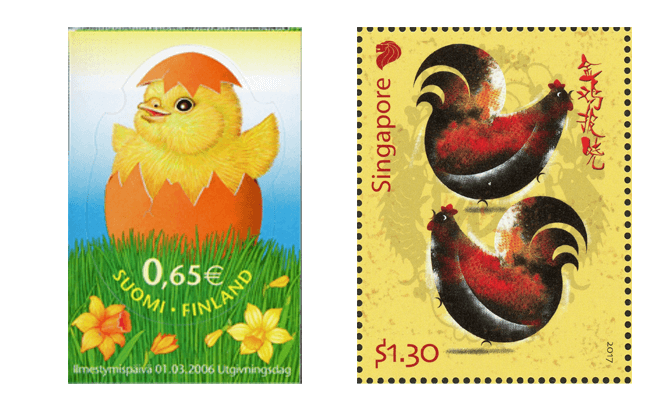 Left: Easter chick (Finland, 2006), Right: Zodiac Series - Rooster (Singapore, 2017)
