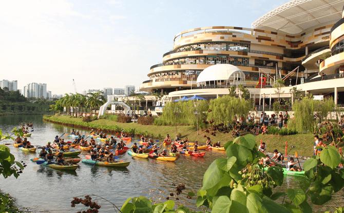 Kayaking stage of the SAFRA Punggol Waterway Challenge